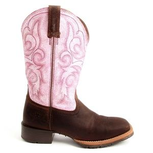 Ariat Pink Brown Cowboy Boots Sz 6.5 B